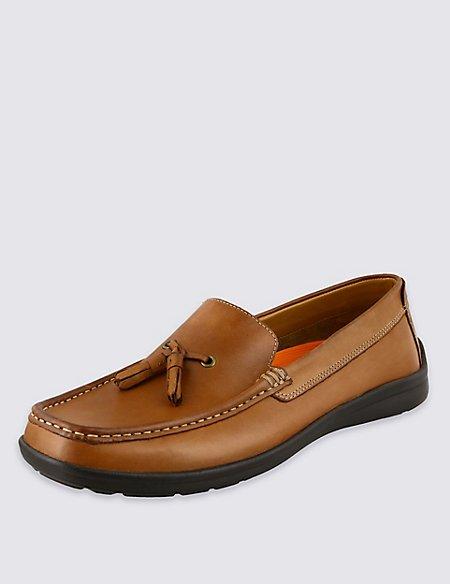 Airflex™ Leather Tassel Slip-On Shoes