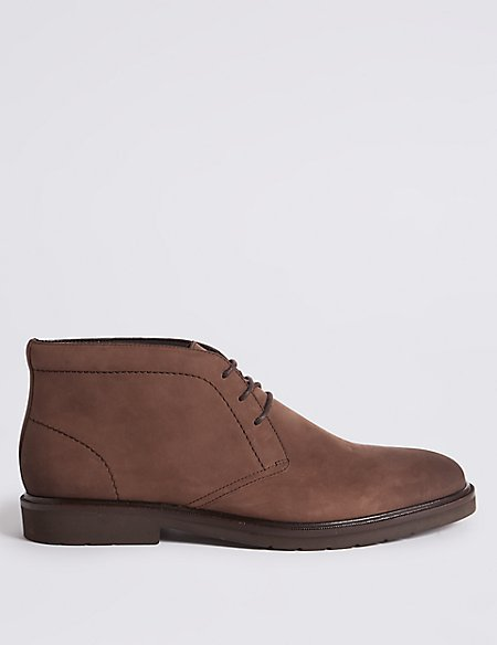 Leather Lightweight Lace-up Chukka Boots with Airflex™