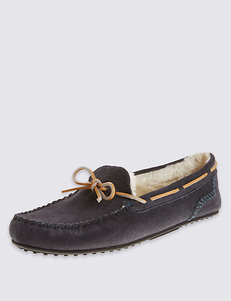 Suede Lace Moccasin Slippers