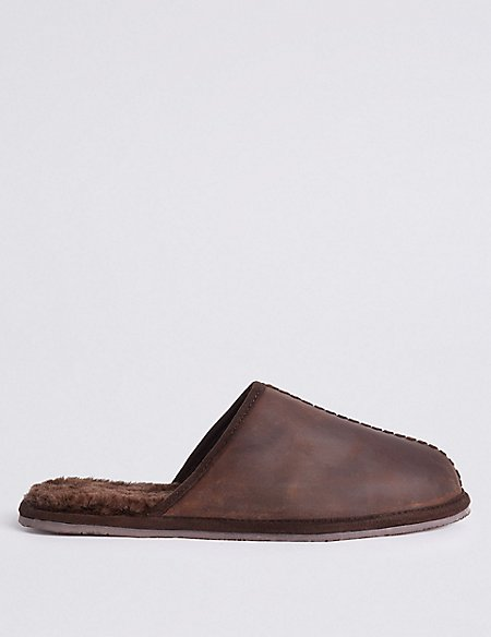 Leather Slip-on Mule Slippers