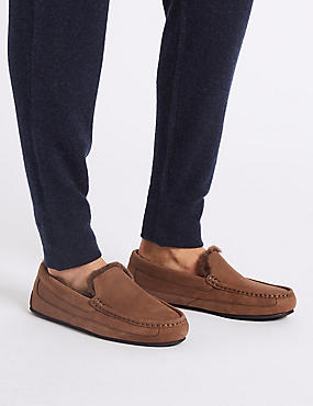 Leather Slip-on Slippers with Freshfeet™