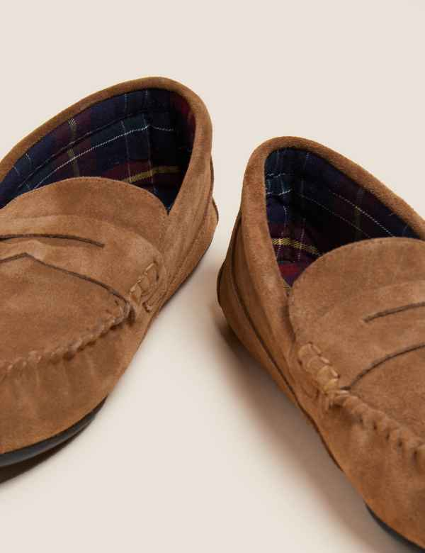 e6991935c Suede Slip-on Slippers with Freshfeet™