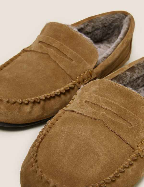 38b096b6e2e Suede Slip-on Slippers with Freshfeet™