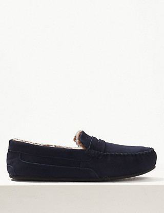 Big & Tall Suede Slippers with Freshfeet™ Clothing