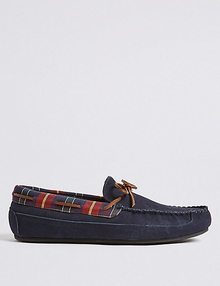 Suede Slip-on Moccasin Slippers