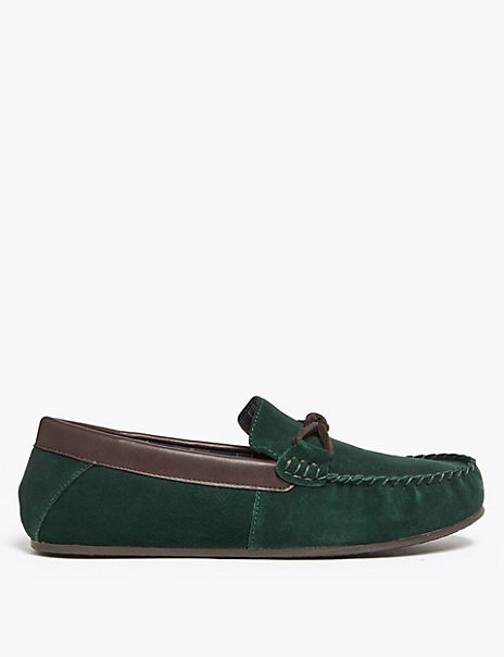 Suede Knot Saddle Moccasin Slippers