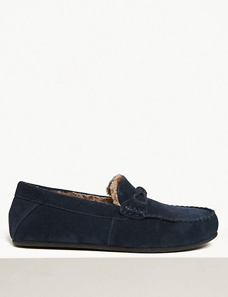 Suede Knot Saddle Moccasins