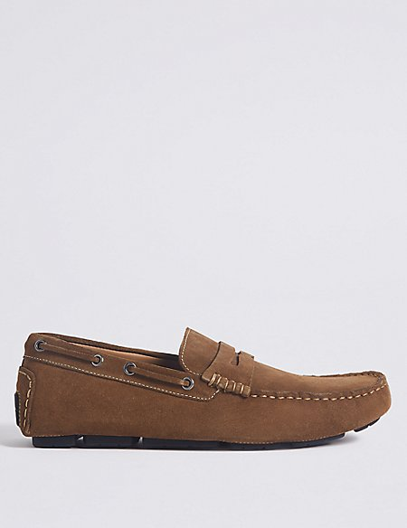 Suede Driving Shoes with Stain Resistant