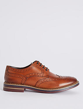 Extra Wide Fit Leather Trisole Brogue Shoes
