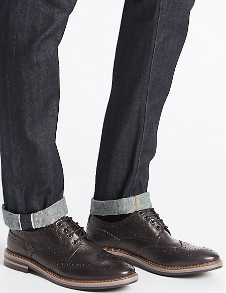 Marks and Spencer Leather Trisole Brogue Shoes chestnut