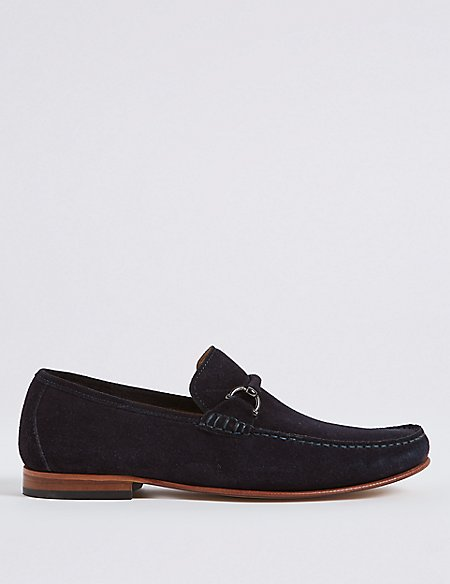 Suede Snaffle Loafers with Stain Resistant