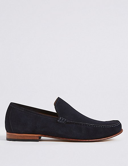 Extra Wide Fit Suede Loafers