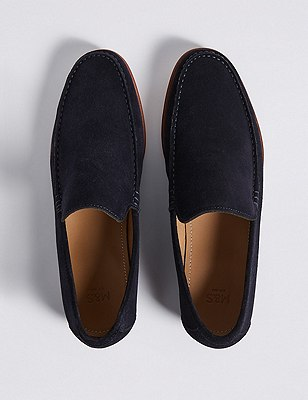 Marks and Spencer Suede Slip-on Loafers with Stain Resistance navy