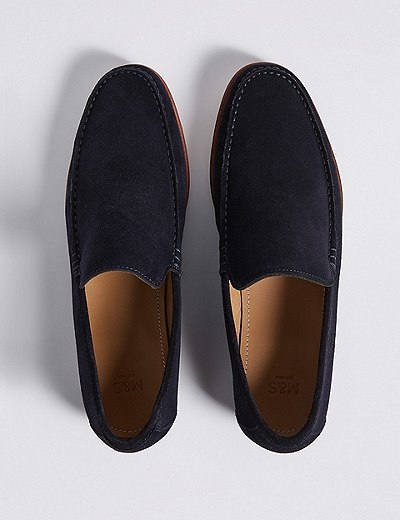 Marks and Spencer Suede Slip-on Loafers with Stain Resistance navy Affordable Sale Online High Quality Cheap Sale Amazing Price Free Shipping Footlocker Free Shipping GpFuSK