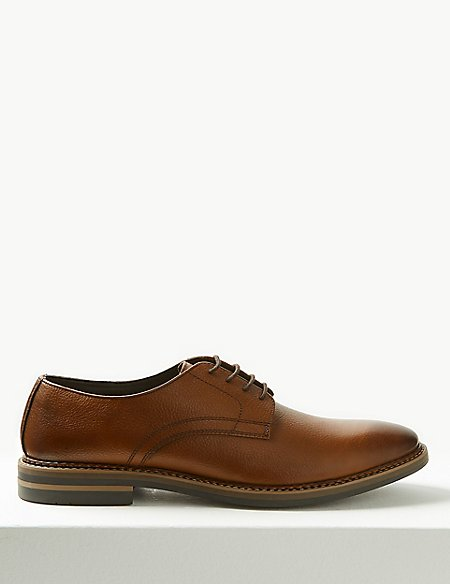 Marks and Spencer Leather Lace-up Derby Shoes dark burgundy