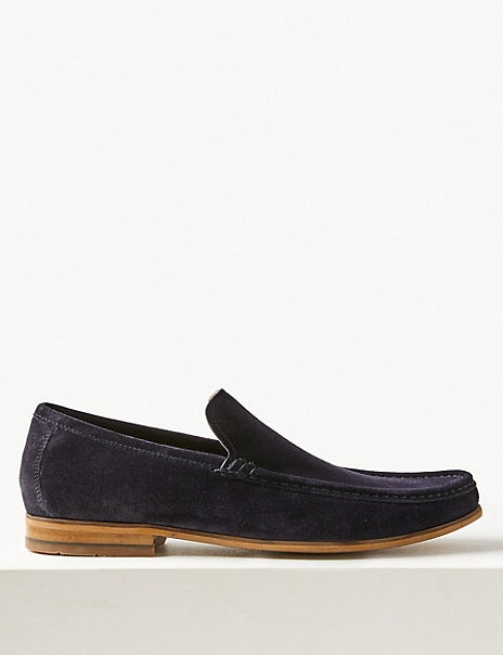 Wide Fit Suede Slip-on Loafers