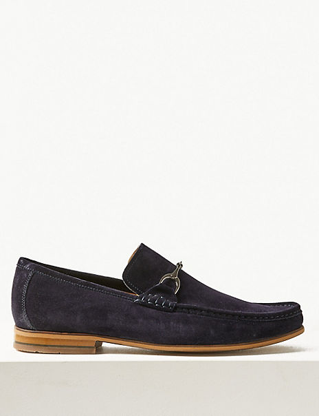 Suede Slip-on Snaffle Loafers
