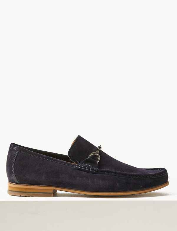 0310f36a658 Suede Slip-on Snaffle Loafers