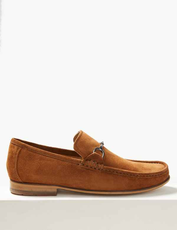 53a1d947f24 Suede Slip-on Snaffle Loafers