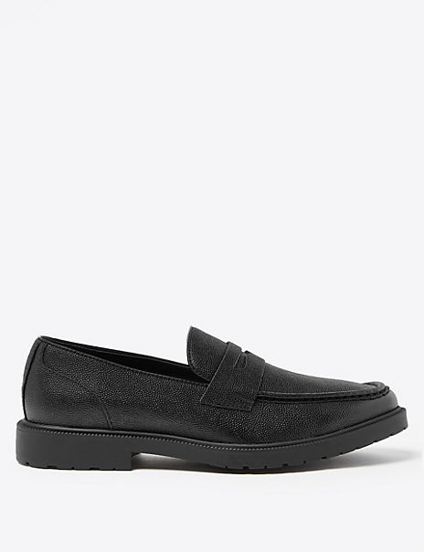 Leather Heavyweight Saddle Loafers