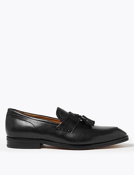 Leather Saddle Tassel Loafers