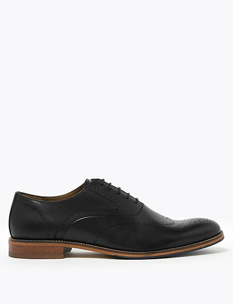 Leather Lace-up Layered Sole Brogues