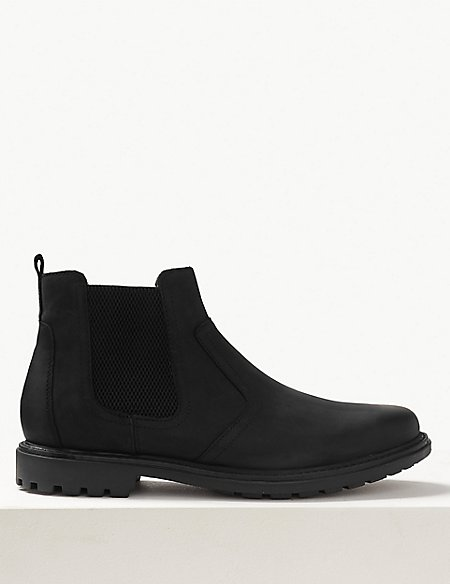Leather Pull-on Chelsea Boots