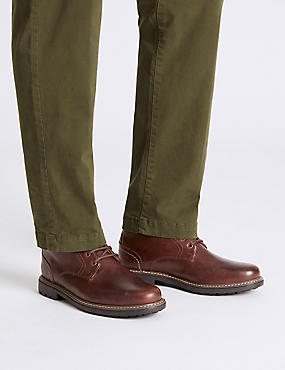 Big & Tall Leather Lace-up Chukka Boots