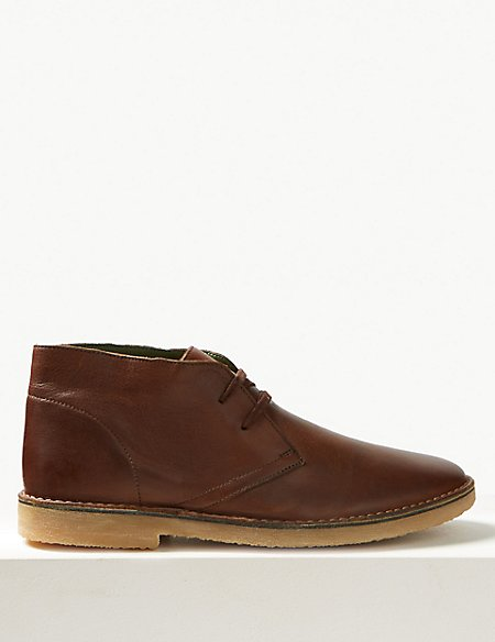 Leather Lace-up Desert Boots