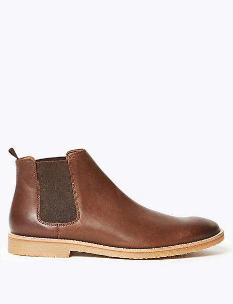Leather Crepe Sole Chelsea Boots