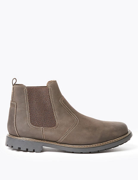 Wide Fit Leather Pull-On Chelsea Boots