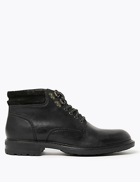 Leather Lace-up Casual Boots