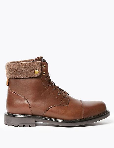 Leather Felt Collar Toe Cap Casual Boots