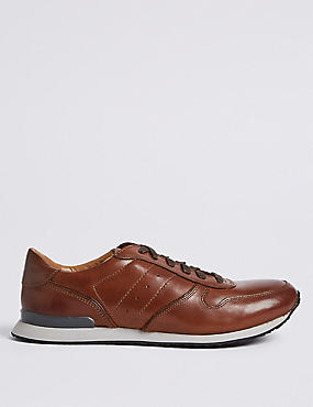 Leather Lace-up Casual Trainers