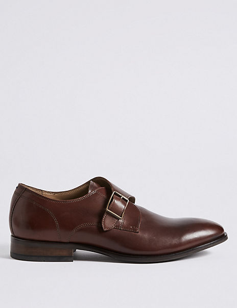Leather Single Strap Monk Shoes