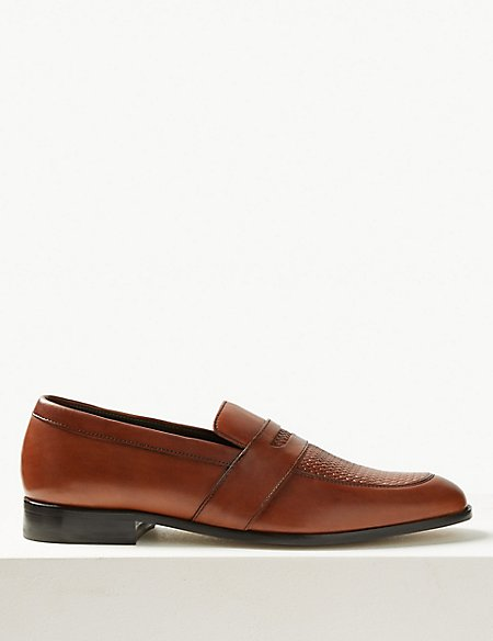 Leather Weaved Slip-on Loafers