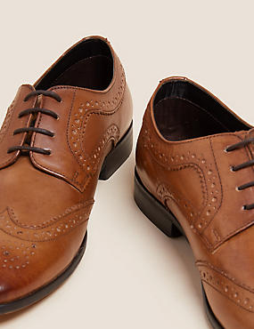 Leather Almond Toe Brogue Shoes