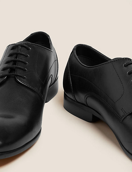 Leather Almond Toe Lace-up Derby Shoes