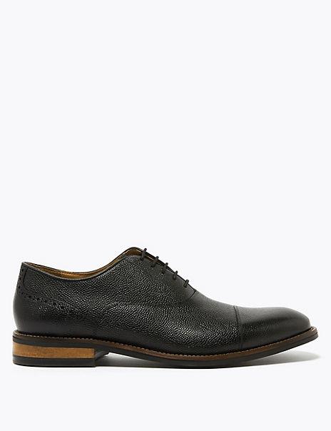 Leather Pebble Grain Oxford Shoes