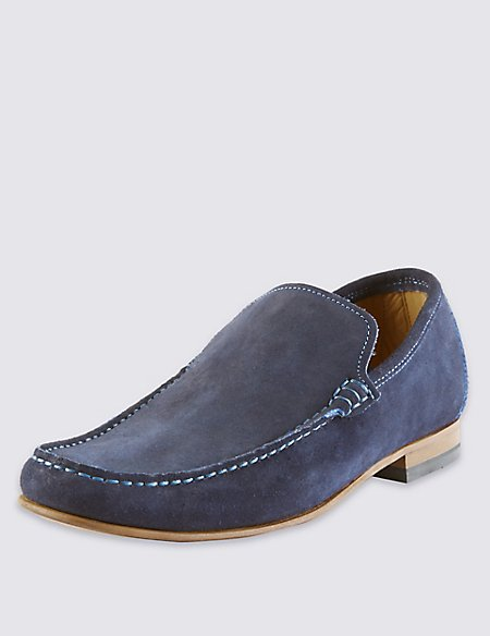 Suede Contrast Stitch Slip-On Loafers