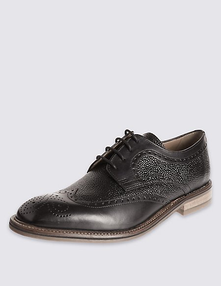Leather Contrasting Sole Brogue Shoes