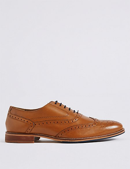 Extra Wide Fit Leather Lace-up Brogue Shoes