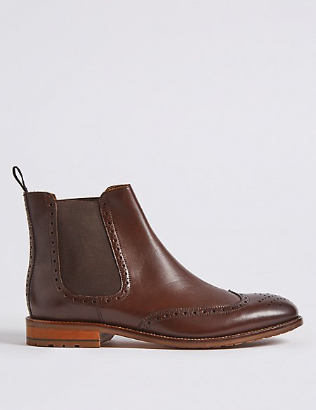 Leather Pull-on Brogue Boots