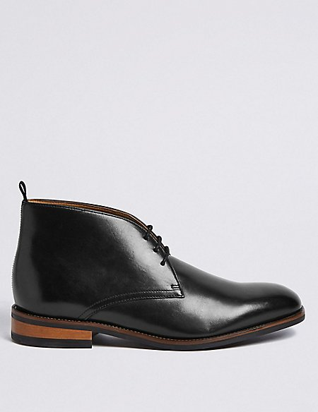 Extra Wide Leather Lace-up Chukka Boots