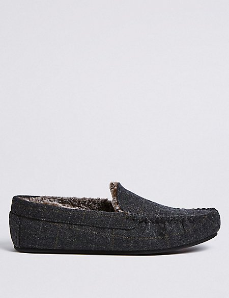 Checked Moccasin Slippers with Freshfeet™