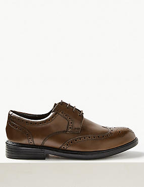 Extra Wide Leather Brogue Shoes with Airflex™