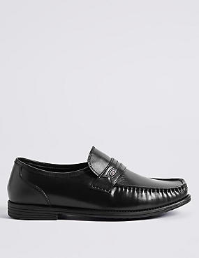 Big & Tall Extra Wide Leather Trim Loafers