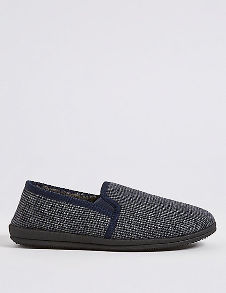 Big & Tall Checked Slip-on Slippers