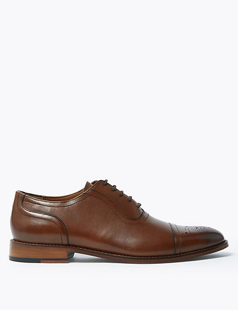 Leather Lace-up Toecap Detail Oxford Shoes