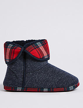 Checked Slipper Boots with Freshfeet™